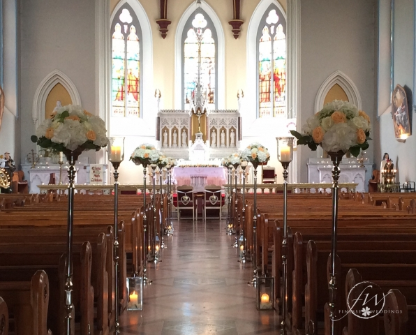 Monasterevin Church floral aisle stands and lanterns