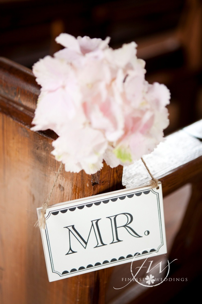 Mr chair sign with hydrangea