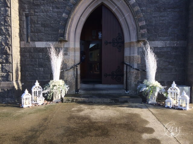 Winter Church decor - willow urns and lanterns