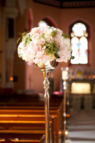Floral aisle stand for church or wedding ceremony