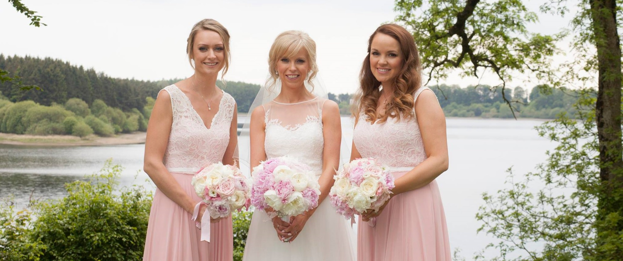 bridal party and bouquets