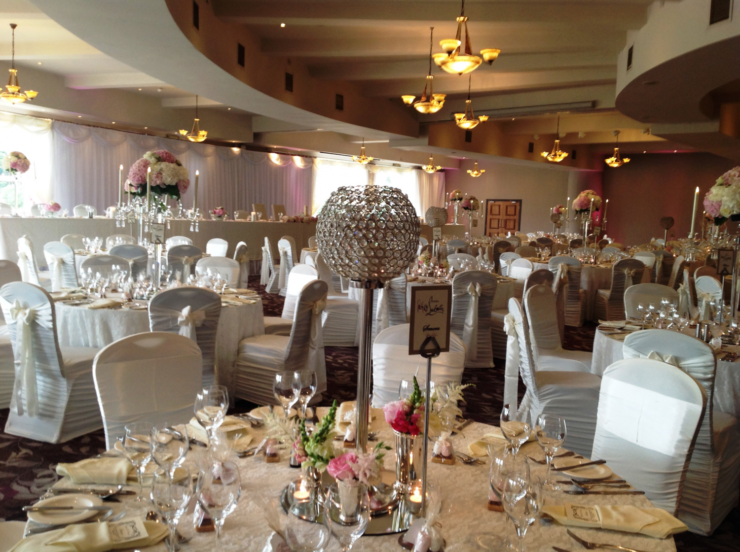 riverside hotel wedding decor crystal globe centerpieces