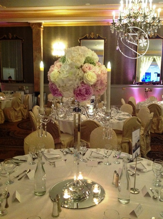Killashee House Hotel glass candelbra centerpieces with pink and white hydrangea, peony roses, avalanche roses, sweet avalanche roses and eucalyptus