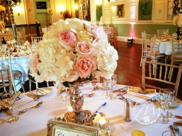 Castle Durrow small silver stemmed stand with peony roses, hydrangea and david austin roses