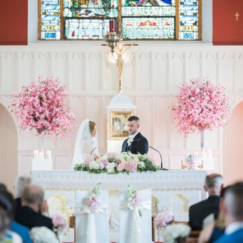 Church wedding decor - cherry blossoms and flowers