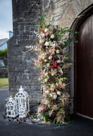 Deconstructed floral arch at Christmas