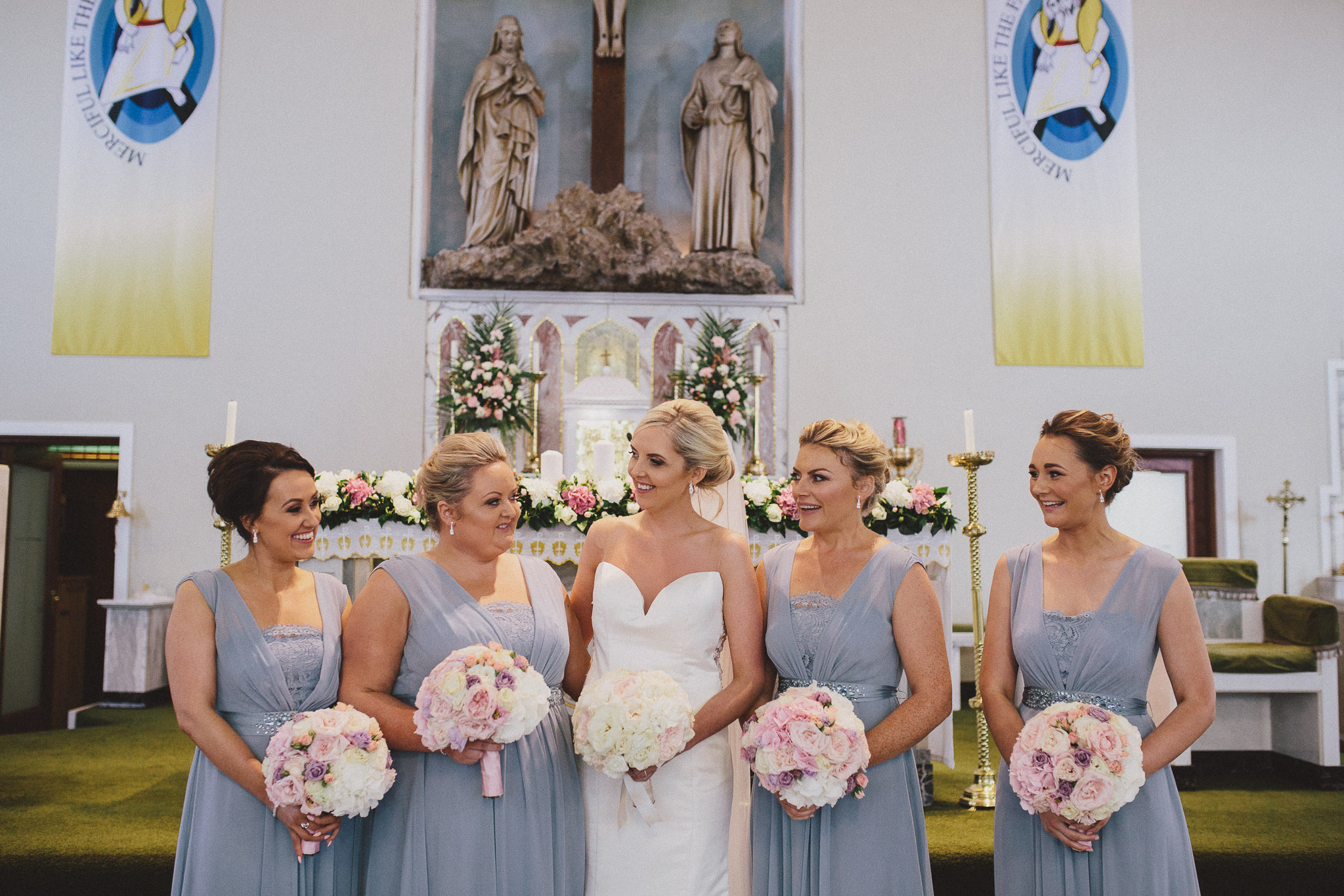 Summer bridal party flowers pink and white