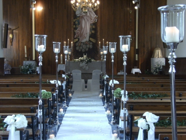 Kildangan Church Kildare - candle aisle stands, pew ends and lanterns