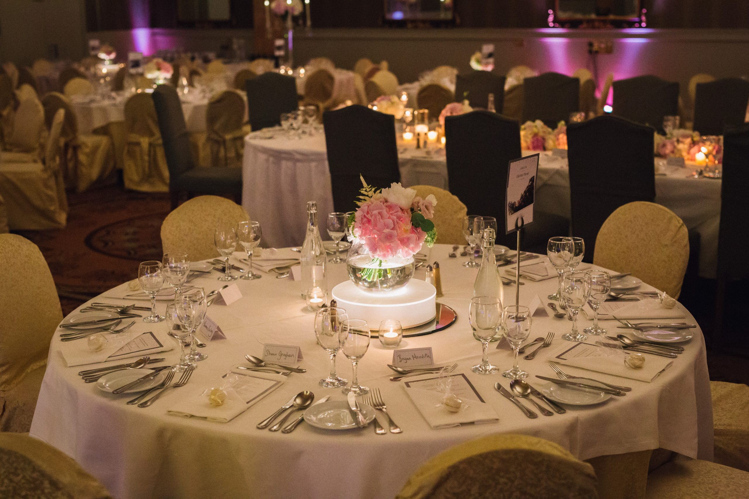 Killashee Hotel wedding - fishbowl centerpieces with LED light base