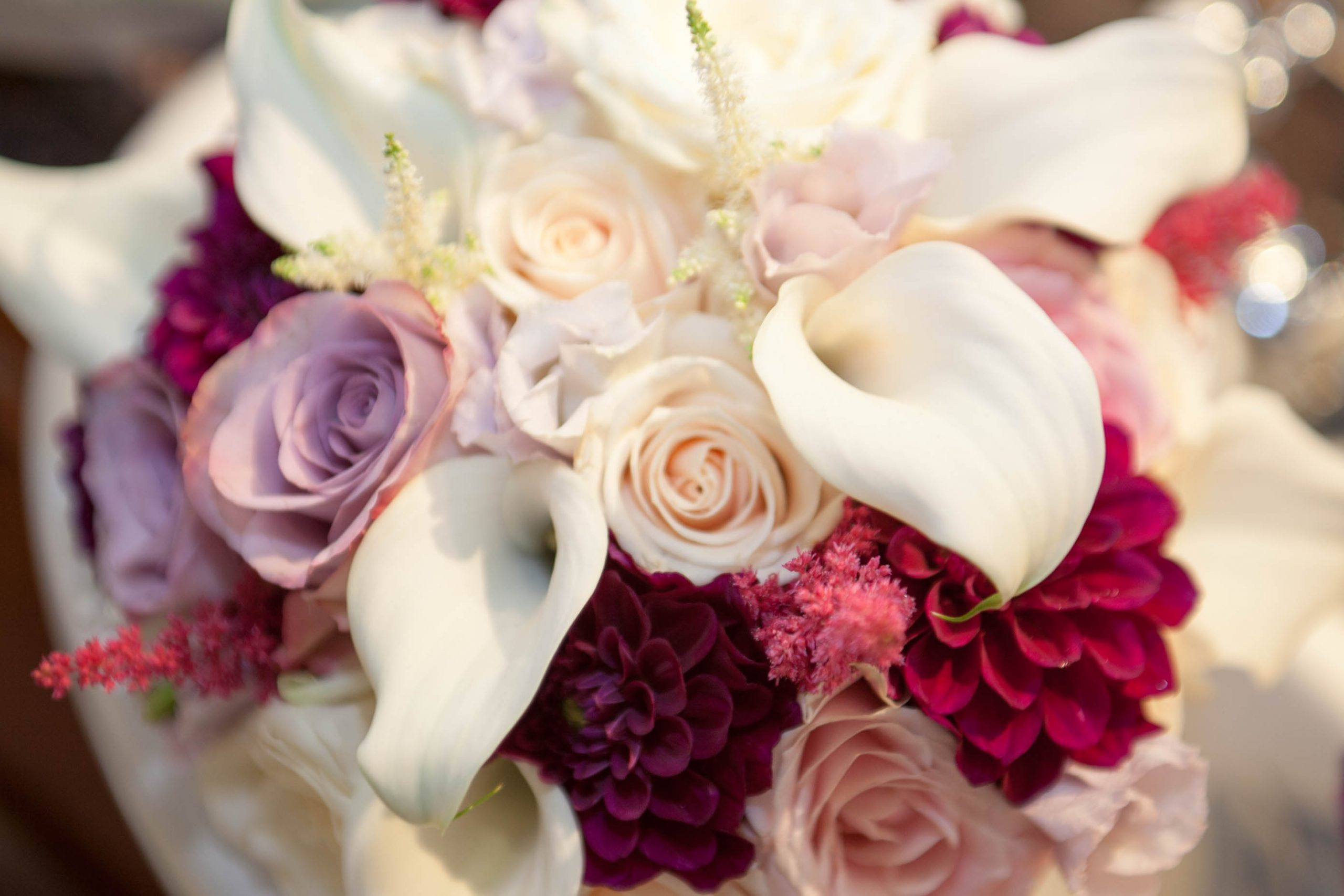 Purple, white and red bouquets