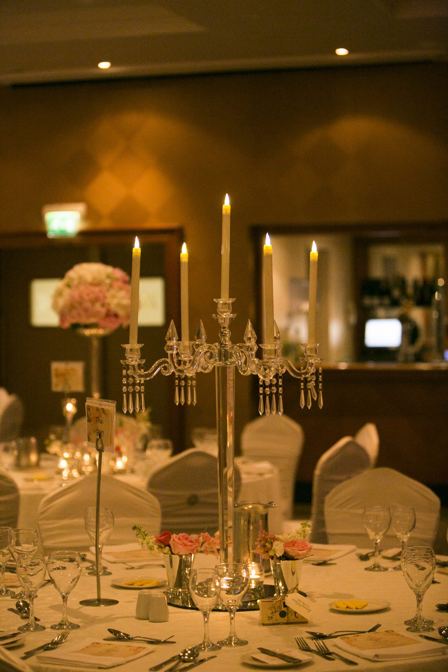 Solid glass candelabra centerpieces