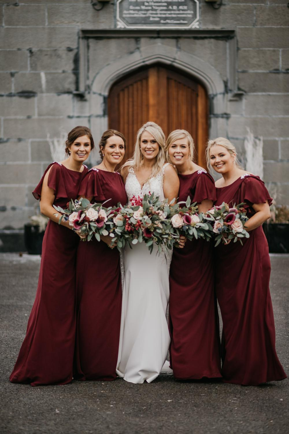 Winter wedding bride and bridesmaids bouquets