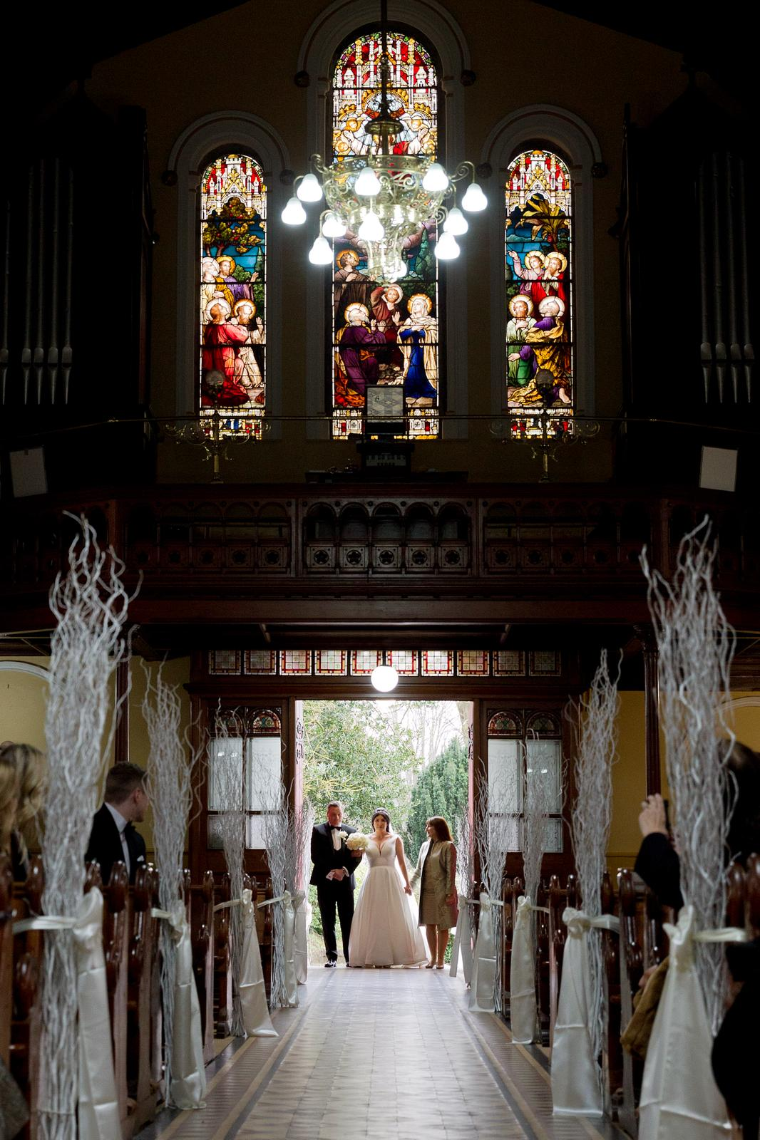 Winter church wedding decor