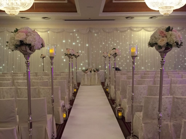 Civil ceremony set up with fairylight backdrop