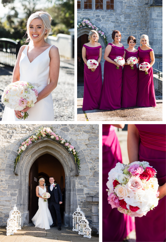 Mary's bridal party. Fuschia bridesmaid bouquets