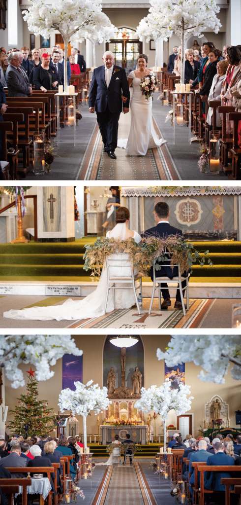 Miriam's Church wedding with white cherry blossom trees, glass vase arrangements and wedding flowers